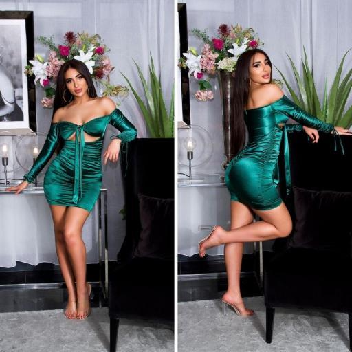 Vestido verde satinado fruncido  [2]