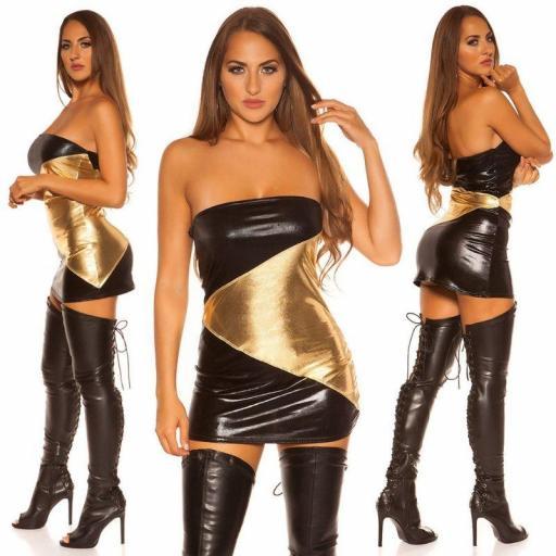 Mini vestido negro dorado