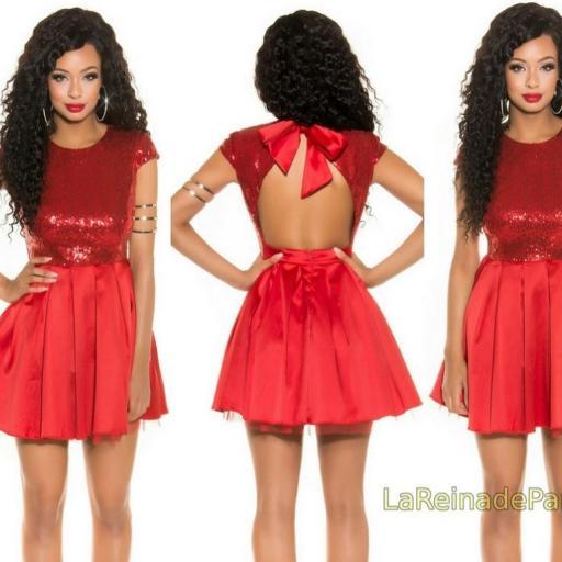 Vestido de fiesta rojo con lentejuelas [2]