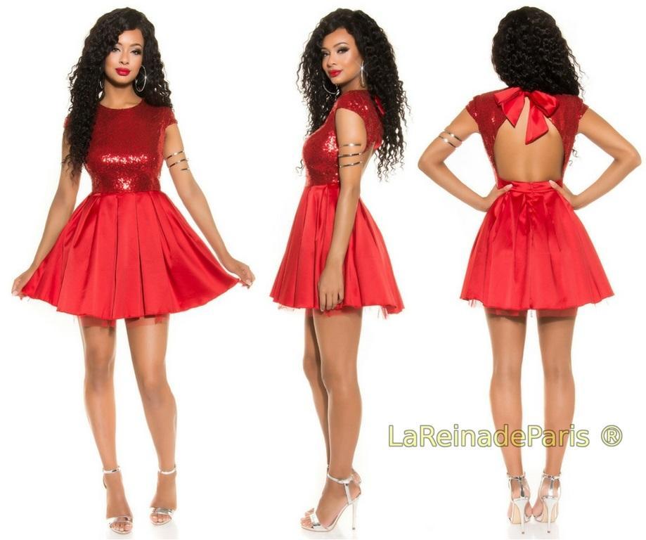 Vestido de fiesta rojo con lentejuelas