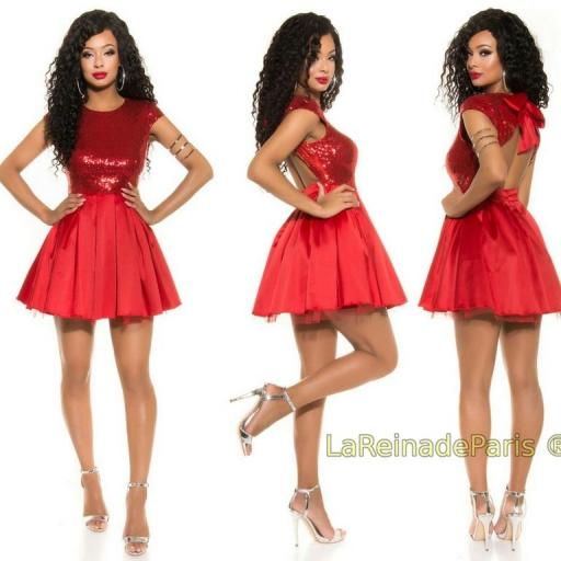 Vestido de fiesta rojo con lentejuelas [1]