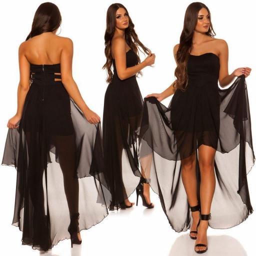 Vestido elegante corto y largo negro