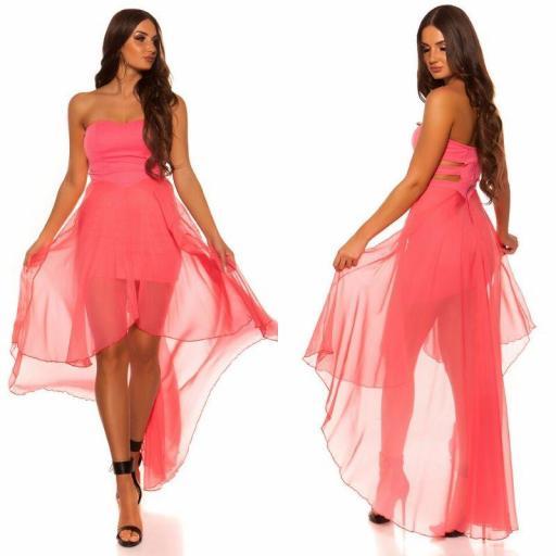 Vestido elegante corto y largo coral [1]