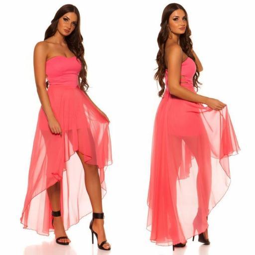 Vestido elegante corto y largo coral [2]