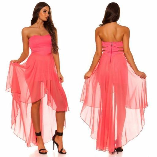 Vestido elegante corto y largo coral [3]