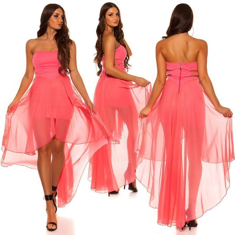 Vestido elegante corto y largo coral