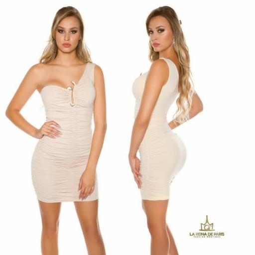 Vestido corto beige a un solo hombro  [2]