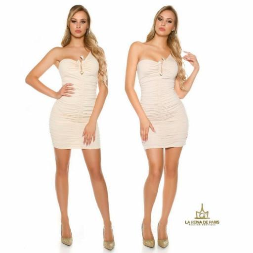 Vestido corto beige a un solo hombro  [3]