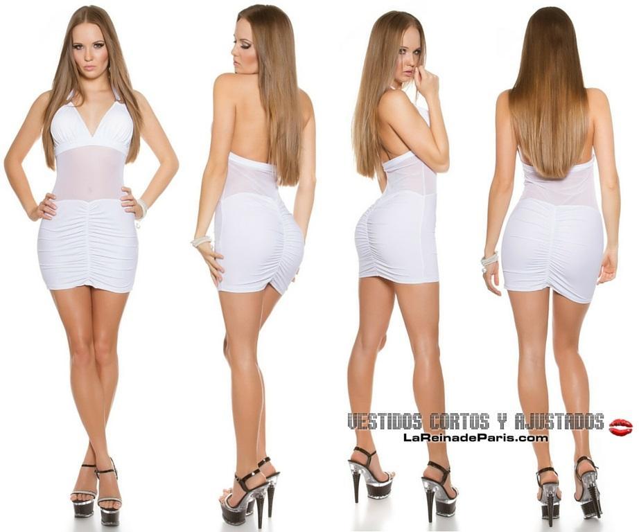 Vestido blanco ajustado transparencias