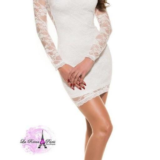 Vestido corto ceñido blanco elegante [2]