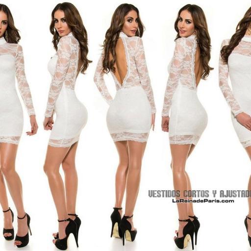 Vestido corto ceñido blanco elegante [1]
