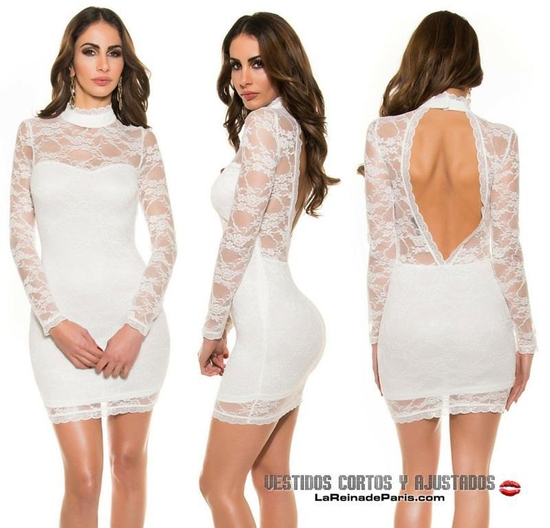 Vestido corto ceñido blanco elegante