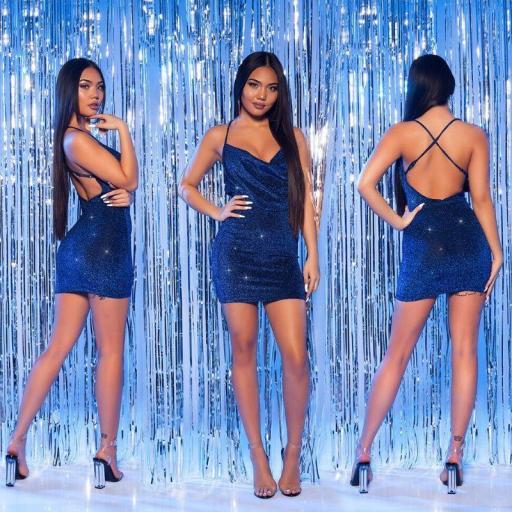 Vestido corto de fiesta azul brillante