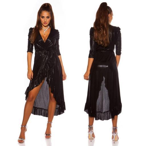 Vestido brillante escotado negro
