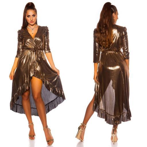 Vestido brillante escotado oro