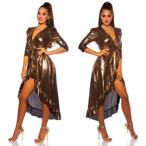 Vestido brillante escotado oro [1]