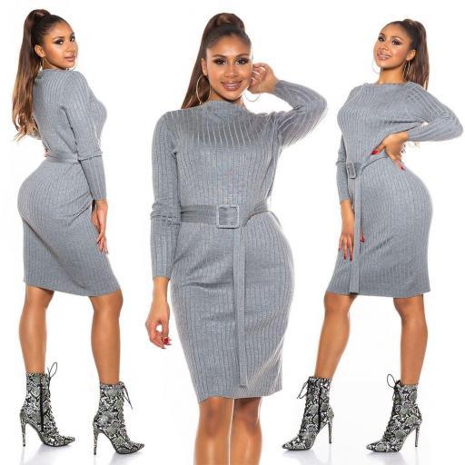 Vestido canalé gris