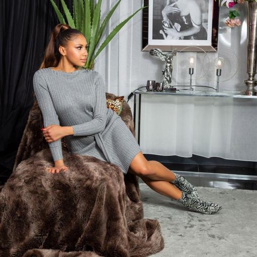 Vestido canalé gris [3]