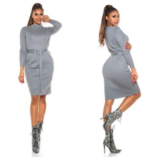 Vestido canalé gris [1]