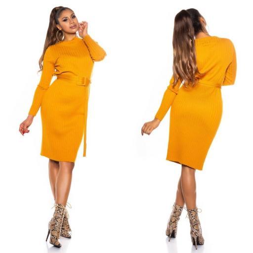 Vestido canalé mostaza [1]