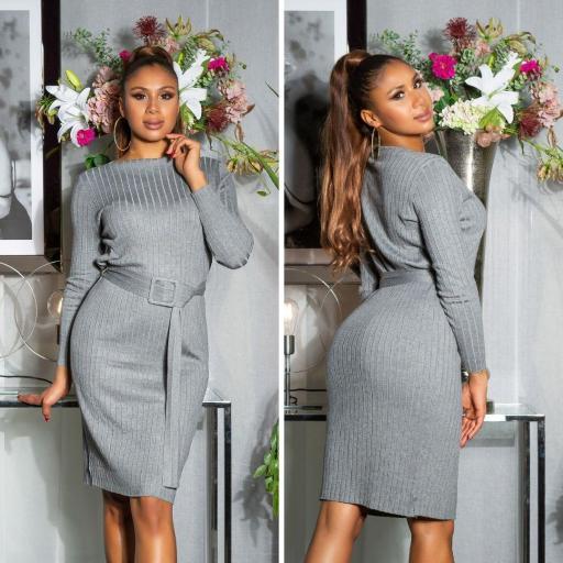 Vestido canalé gris [2]