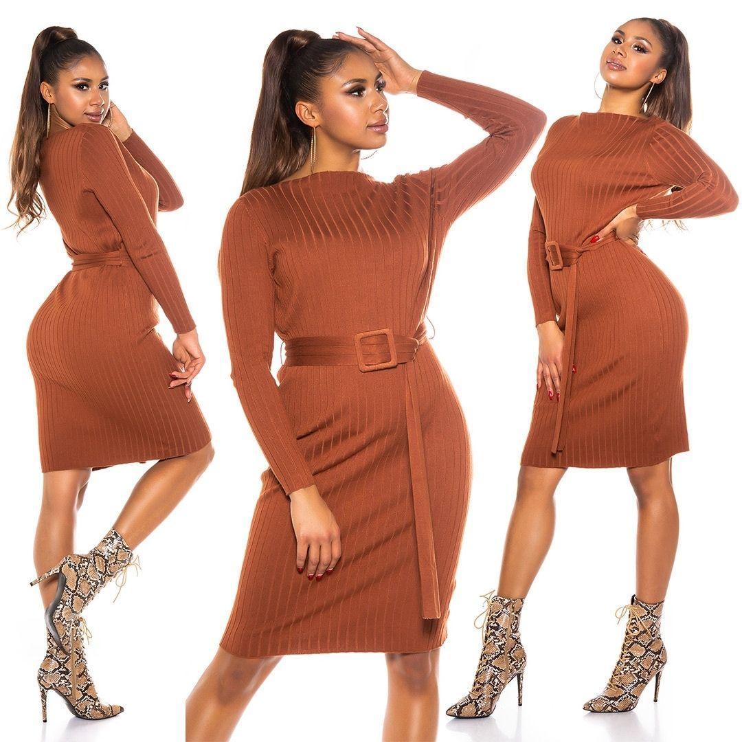 Vestido canalé marrón