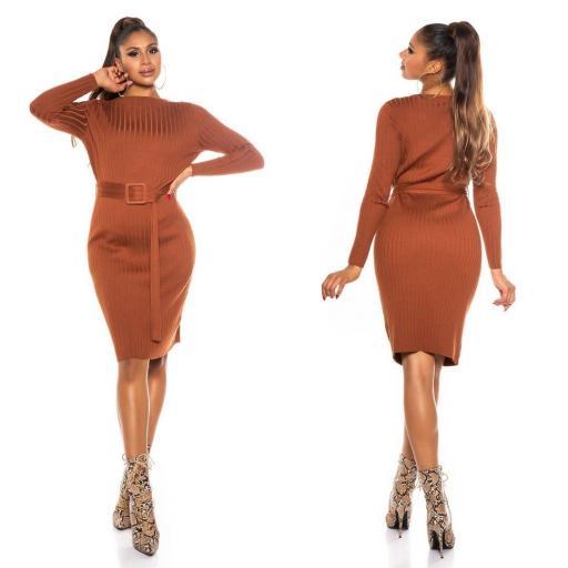 Vestido canalé marrón [1]