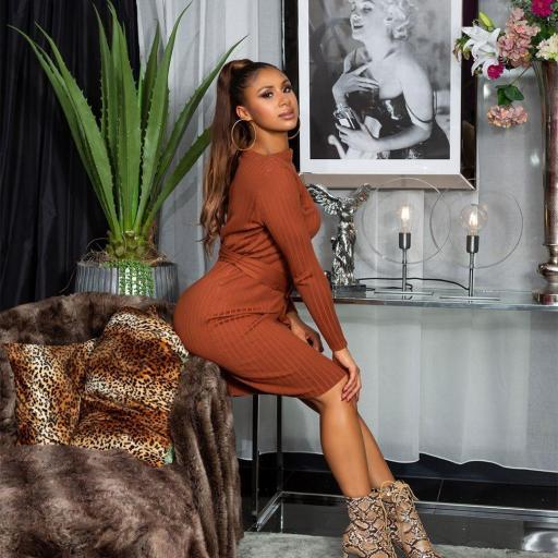 Vestido canalé marrón [3]