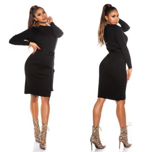 Vestido canalé negro [1]