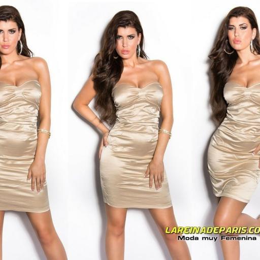 Vestido elegante entallado cóctel beige [3]
