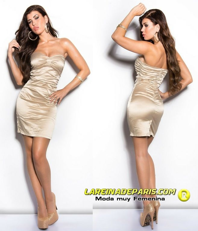 Vestido elegante entallado cóctel beige