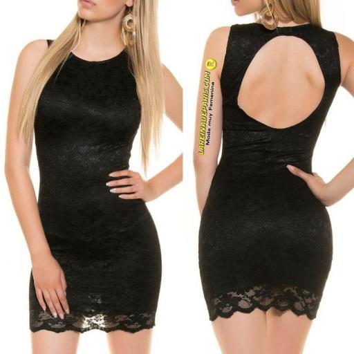 Vestido negro encaje espalda descubierta