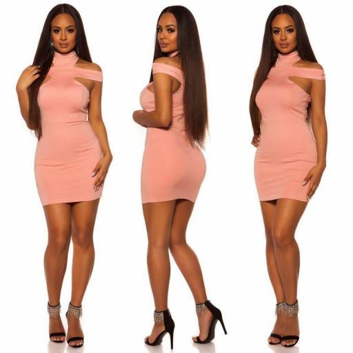 Vestido ceñido rosa [1]