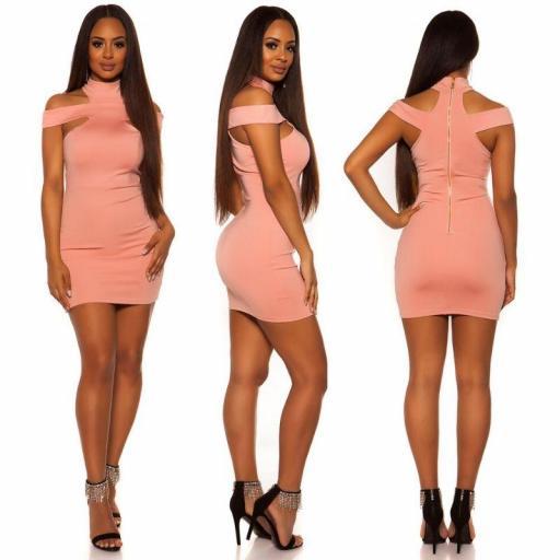 Vestido ceñido rosa [2]