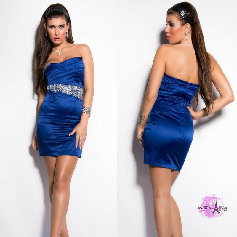Vestido cóctel azul elegante