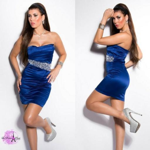 Vestido cóctel azul elegante [3]