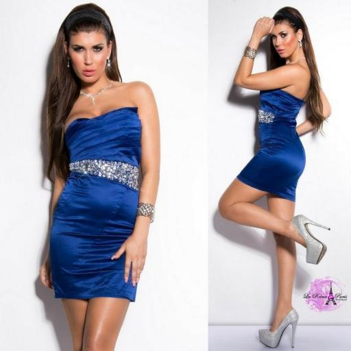 Vestido cóctel azul elegante [2]