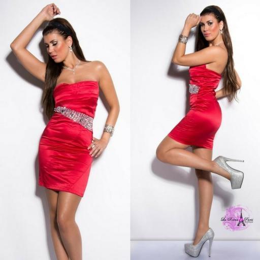 Vestido rojo de cóctel entallado [2]