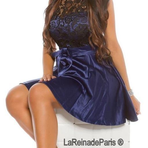 Vestido de cóctel azul con encaje  [1]
