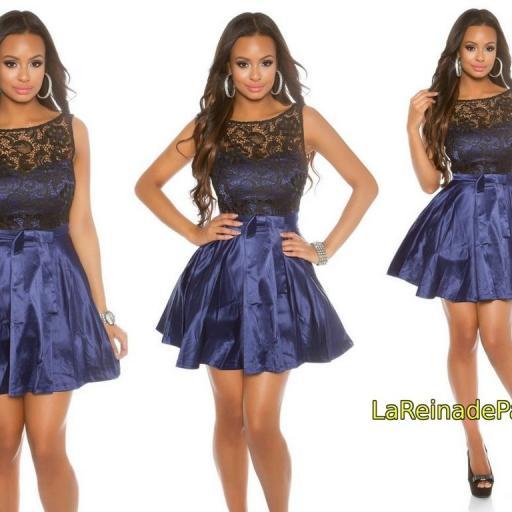 Vestido de cóctel azul con encaje  [3]