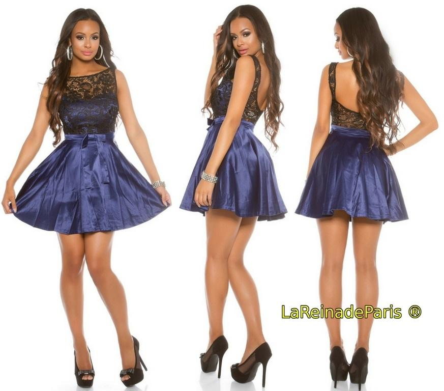 Vestido de cóctel azul con encaje
