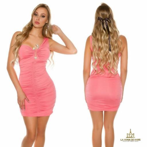Vestido corto coral de un solo hombro