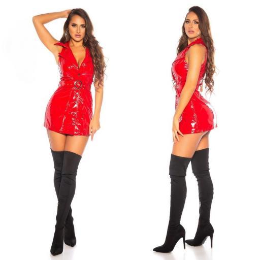 Vestido latex rojo con cinturón   [1]