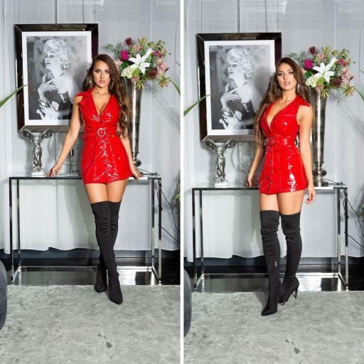 Vestido latex rojo con cinturón   [3]