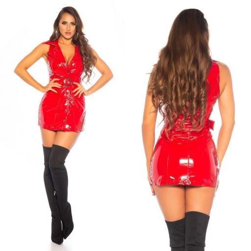 Vestido latex rojo con cinturón   [2]