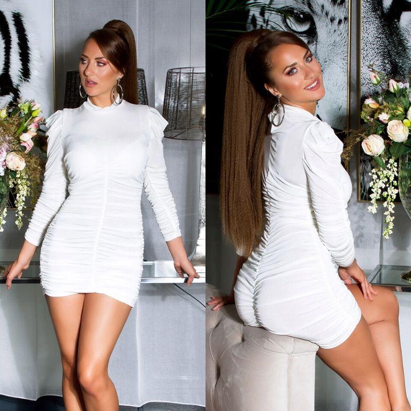 Vestido de cuello alto plisado blanco