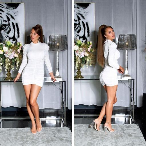 Vestido de cuello alto plisado blanco [1]