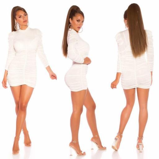Vestido de cuello alto plisado blanco [2]
