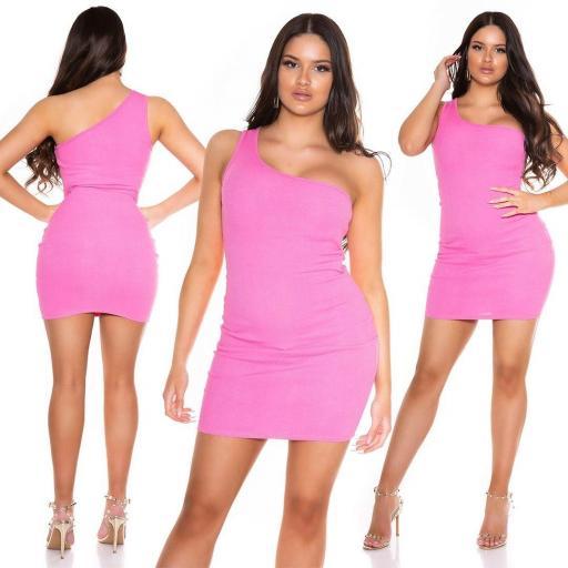 Vestido de verano de un solo hombro rosa