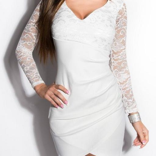 Vestido corto apuesto encaje blanco [1]